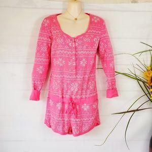 Pink Victoria's Secret thermal print romper
